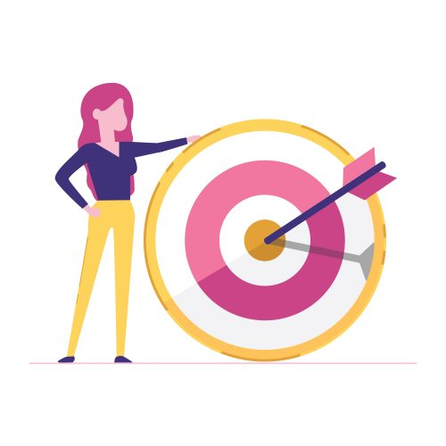 Portrait of a business woman holding a target. Concept of time management.