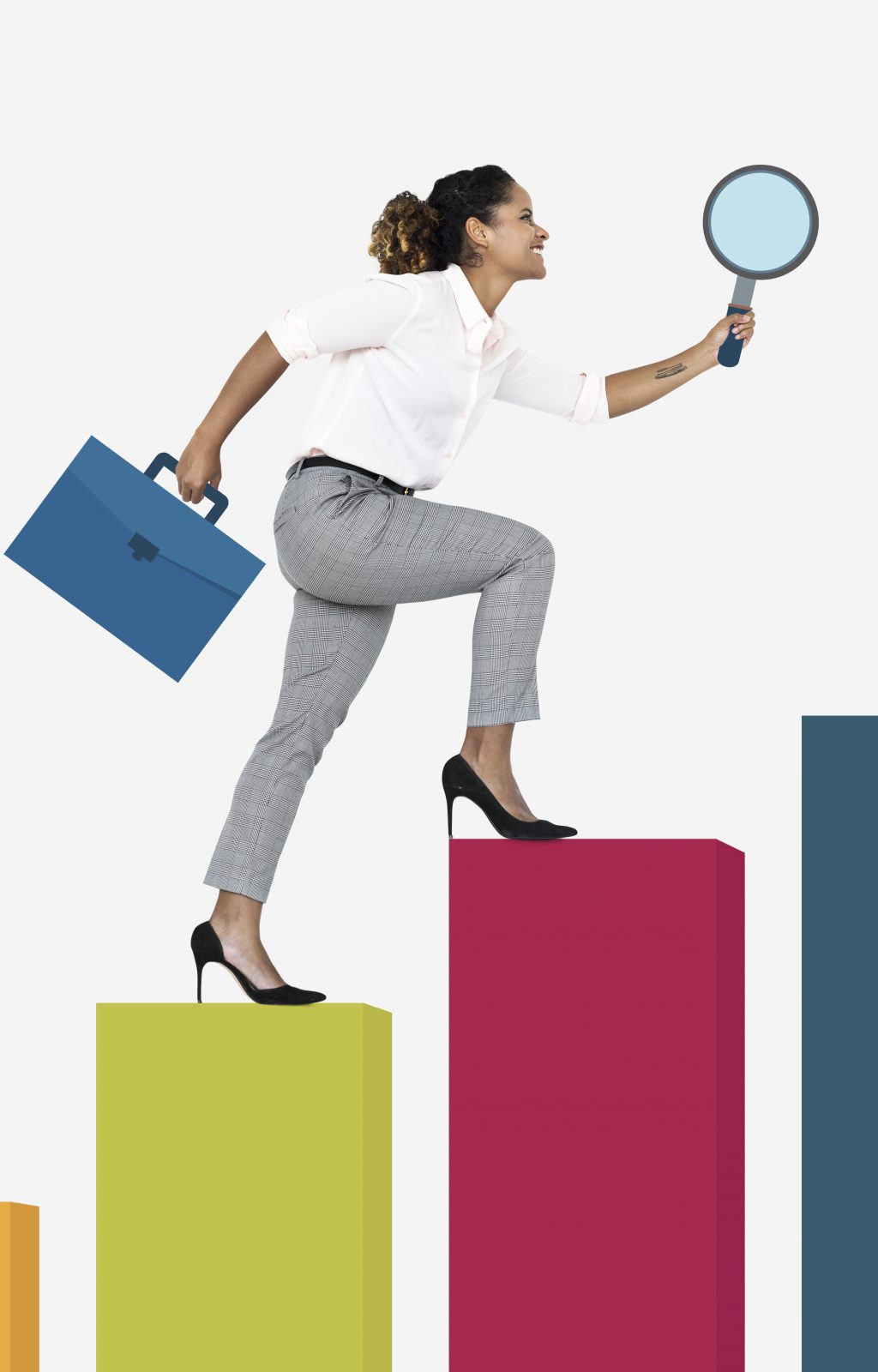 Woman walking up a graph with a magnifying glass